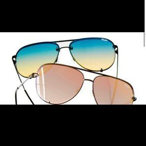 Quay High Key Rimless Blue Sunglasses